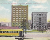 Postcard - OHIO- Society for Savings and Chamber of Commerce Buildings Trams & Trolleys - CLEVELAND  - UNUSED