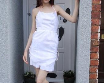 A 'Janet' White Halterneck Dress