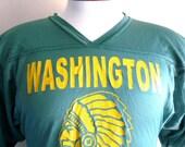 vintage 90's Washington School Warriors native american chief varsity football jersey unisex dark green nylon mesh v-neck graphic t-shirt