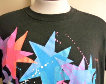 vintage 80's 90's Judi Sheppard Missett's Jazzercise Hermosa Beach California bright star oversize print graphic t-shirt black crew neck tee