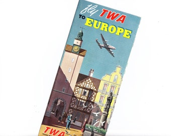 Fly TWA to Europe Airline Travel Brochure - Mid Century 1950s