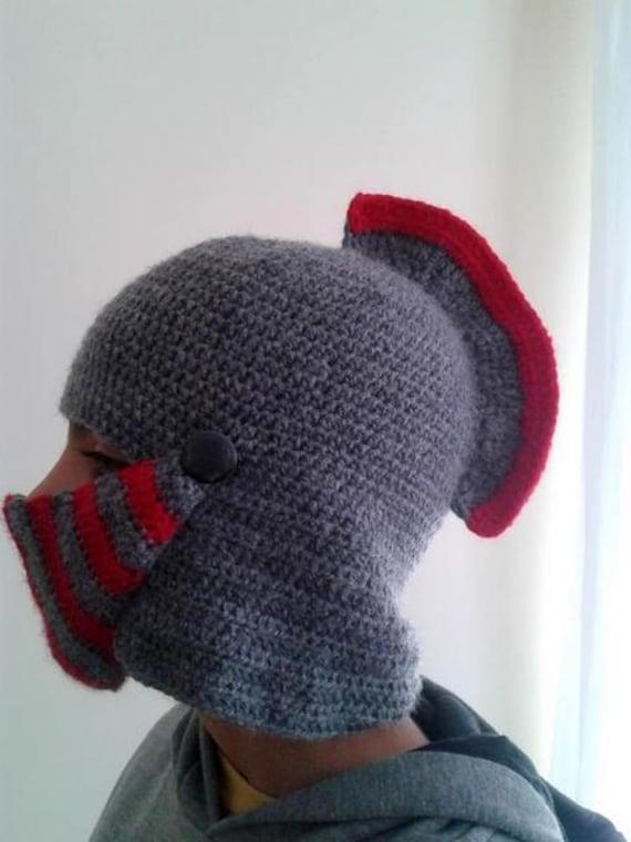 Crochet Knight Helmet : Knight crochet hat,Mens Hat Crocheted Knight Helmet ,Grey Knight ...