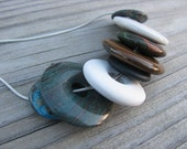 JEWELRY SALE- BOLD, Statement Necklace-Stone Circles- Brown, Cream, White, Turquoise, etc.