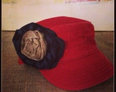 Distressed Red Cottage-Chic Cap w/ Navy & Burlap Flower