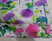 Summer Floral Cotton Linen Fabric, Watercolour Flower Style in Pastel Pink Blue Pueple for Clothes Dress Bag- 1/2 yard