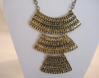 3 Tiered Gold Tone Pendants on a Gold Tone Chain Bib Necklace