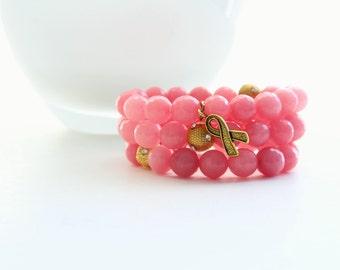 Three Pink Jade Charm Breast Cancer Awareness Bracelets