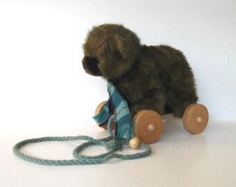 "Vintage 1986 Applause Bear Pull Toy, vintage Nursery decor, stuffed brown bear push toy, 7"" x 7"", New Baby, gift idea"