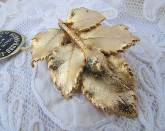 Vintage Brooch  24 Karat Gold Plated Vienna Wood Leaf MADE IN AUSTRIA