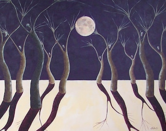 Dancing in the Moonlight Surreal Moon Painting, Fantasy Tree People, Surreal Moonlight, Dancing Moon