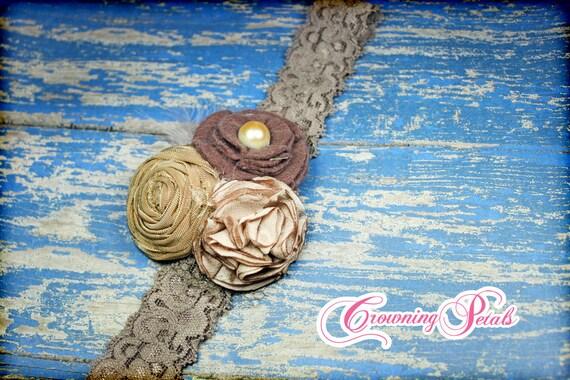 Brown, Mauve, Tan, Dusty Pink Hair Accessory, Blush Fabric Flower Headband, Baby Girl Hair Bow, Fabric Flowers, Vintage Headband, Tan Clip