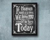 Wedding Memorial PRINTED sign  - if Heaven wasn't so far arway - Rustic Rose Design - 3 size options