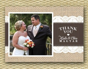 Wedding Photo Thank You - Burlap Ribbon Lace Thank You - Any Colors, Customizable