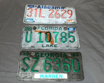 3 great southern vintage car tags.  1980s