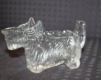 Vintage Scottish Terrier Scotty Dog Creamer Clear Glass 1930s