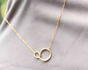 SALE Gold Double Circle Necklace - Eternity Necklace - Gold Circle Necklace, Infinity Necklace, Everyday Jewelry, Bridesmaid Necklace