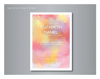 Modern Watercolor Wedding Invitation (Pinks)