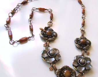 Mixed metal flower necklace - Wirewrapped brown bead chain necklace