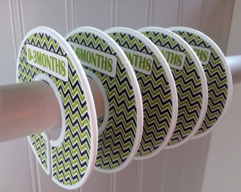 5 Baby Closet Dividers Closet Organizers Clothes Orgainzers Clothes Dividers Navy Green Chevron Baby Shower Gift Boy