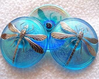 Czech   Glass  Buttons  2pcs   Gorgeous   40.5mm   Platinum   DRAGONFLY    IVA 154
