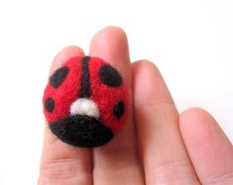 Felt ladybug pin, ladybird brooch, needle felted wool, ladybug badge