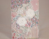 Gadget Phone Case - Pink patchwork and lace - Embroidered and Recycled
