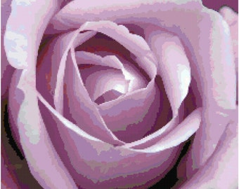 Lavender Purple Rose Counted Cross Stitch Pattern Chart PDF Download by Stitching Addiction