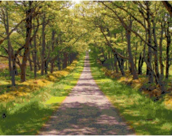 Summer Road Landscape Counted Cross Stitch Pattern Chart PDF Download by Stitching Addiction
