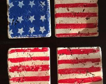 American flag coasters-tumbled marble