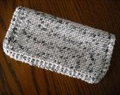 "Cotton Dish Cloth - Hand Knit - White with Black Spots - Medium 8"" Square"