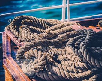 Nautical Rope Photo. Ocean Photo. Boat Photo. Thick Rope. Rope Coil. Nautical Home Decor. Schooner. Boy's Room Decor. Fine Art Photography