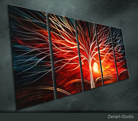 "Modern Original Metal Wall Art Abstract Large Painting Sculpture Indoor Outdoor Decor ""Sunshine"" by Ning"
