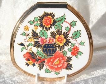 FREE SHIPPING  Vintage Unused Orange Flower Design Stratton Powder Compact Mirror Bridal/Bridesmaid Gift