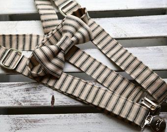 Black & Cream Ticking Stripe Bow Tie and Suspenders Set (Black and Cream)