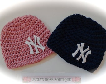 New York  baby hat beanie newborn 0-3 3-6 month navy blue mauve pink royal blue boy girl photo prop pom pom can be added