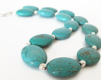Turquoise Necklace, Turquoise and Silver Necklace, Blue Turquoise Necklace, Blue Necklace, Turquoise Jewelry, Blue Turquoise Necklace