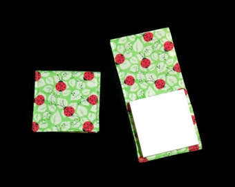 Ladybug Sticky Notepad Holder, Refillable Fabric Cover, Green