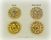 Gold Rhinestone 24mm Embellishments with a Flat Back - Your Choice: Set of 5, 10, or 50 - Rose Gold or Yellow Gold - MR239 GOLD