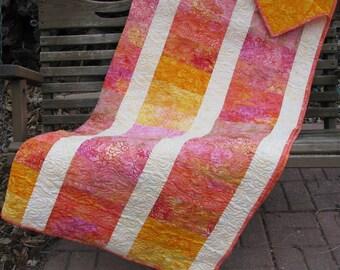 Lap Quilt, Sofa Quilt, Quilted Throw - Pink Lemonade Batik