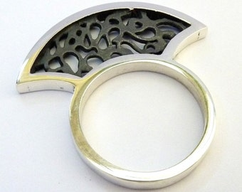 Artisan silver ring - Filigree silver ring - Fan ring - sterling silver ring