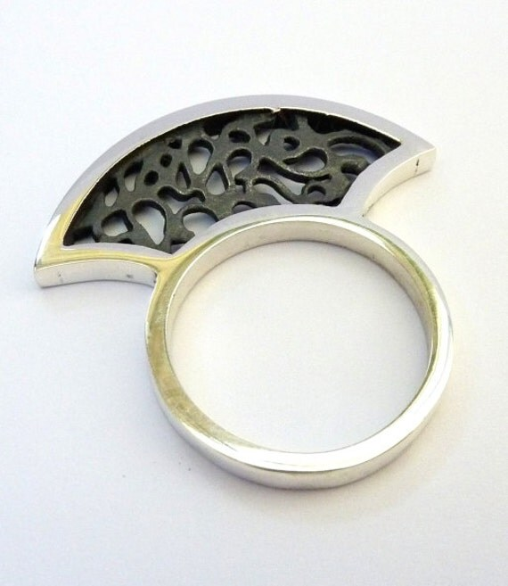 Artisan silver ring - Filigree silver ring - Fan ring - sterling silver ring