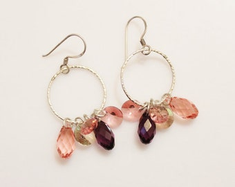 Pink Crystal Cluster Earrings, Sterling Silve Dangle Hoop Earrings