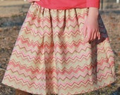 chevron twirly pink tan skirt Valentine's Day spring Easter size 4, 5, 6, 7