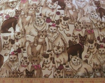 """Fabric Cats Allover 1/2 yard x 43"""" wide cotton flannel"""