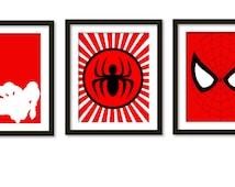 Super hero poster, kids wall art, Spiderman, Spiderman Poster, Spiderman Print, Spiderman Art, superhero print, boy room, boy wall decor ,