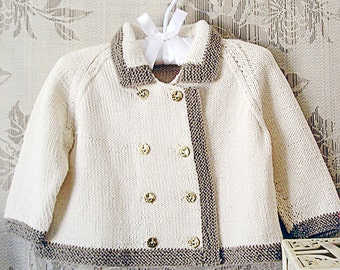 Baby jacket - double breasted with contrasting trim P002