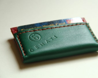 Handmade leather business card case by GENATI . Handstitched, red and green, rouge et vert