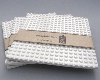 White porcelain coaster, modern coaster, large coaster, contemporary ceramics, porcelain tiles, ceramic tiles,5.30 x 5.30 inches