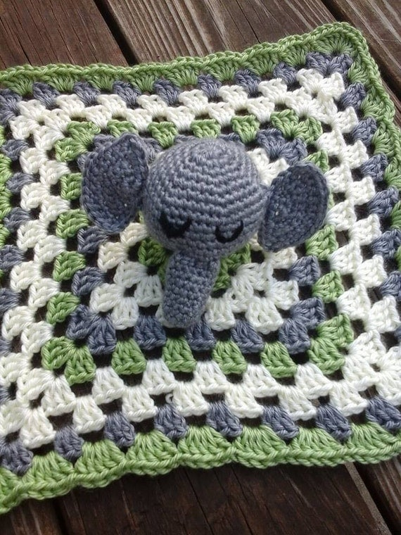 Crochet Elephant Blanket : Items similar to Crochet Elephant Lovey/Security Blanket on Etsy