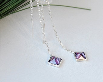 Tiny Purple Zircon Threader Chain Earrings Sterling Silver Ear Threader Lilac Zircon Minimal Simple Jewelry Teenage Girlfrienf Gift For Her